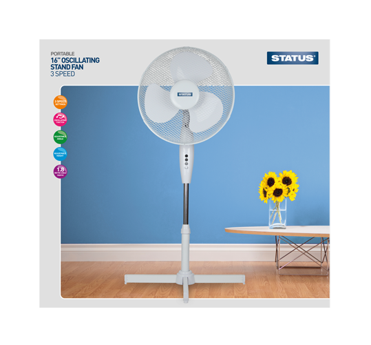 "Status 16"" High Quality Stand Fan  Radford Vac Centre"