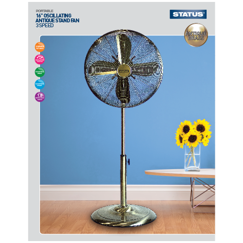 "Status 16"" High Quality Antique (bronze) Stand Fan  Radford Vac Centre"