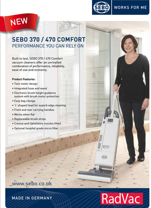 SEBO 370 COMFORT Upright Vacuum Cleaner 90703AM  Radford Vac Centre  - 4