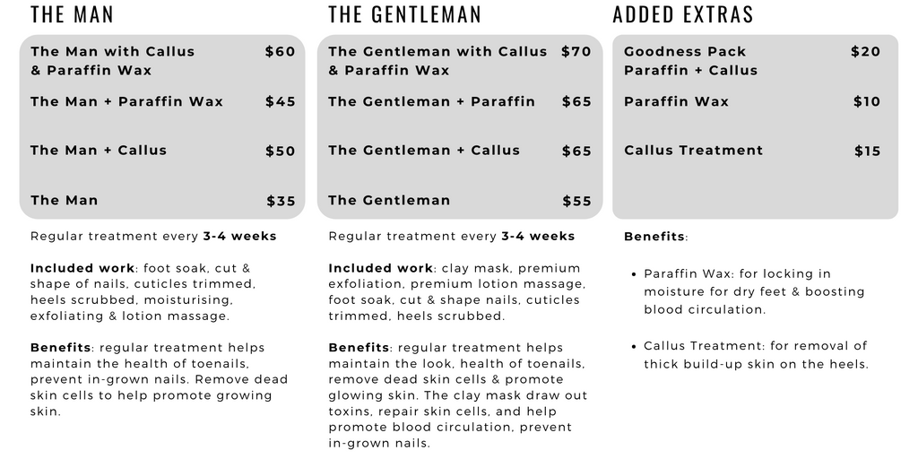 The Nail Bar Beauty & Co. pedicure service menu for males