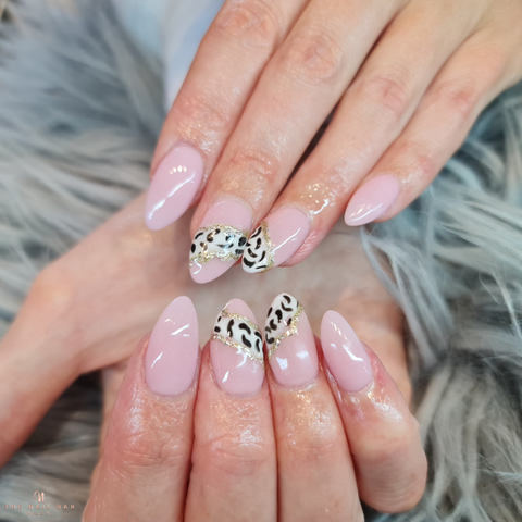Leopard Nail Design. with baby pink