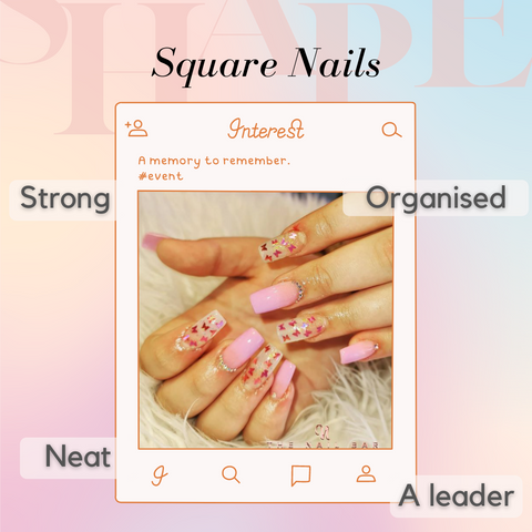 Butterfly Nails with a Square shape, pink gel colour and a pink glossy top coat