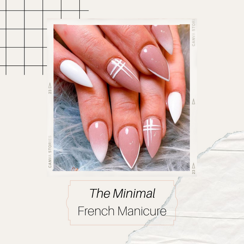 Minimal french manicure with white tip on stiletto nail shape
