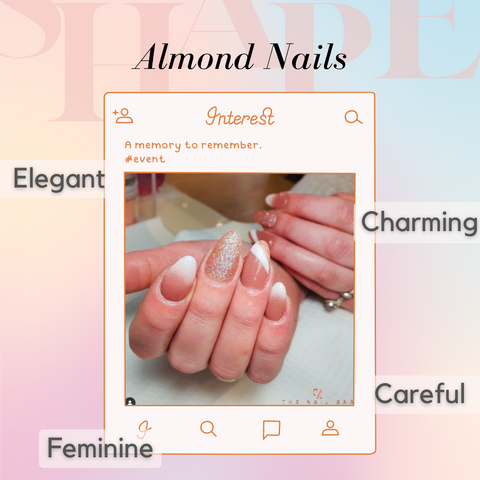 Almond Shape Nails with pink ombre, nude ombre and a designer nail look