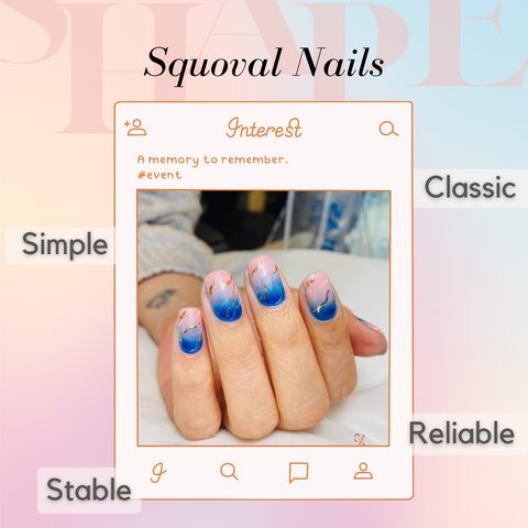 A squoval nail set, with blue and pink marble design