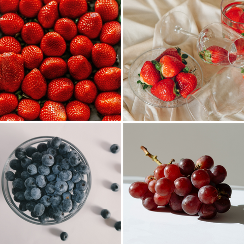 Strawberries, blueberries and grapes with antioxidants that grow stronger nails