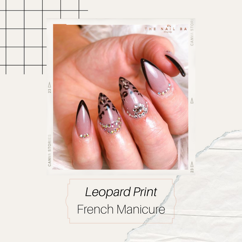 Animal print french manicure with black colour on stiletto shape