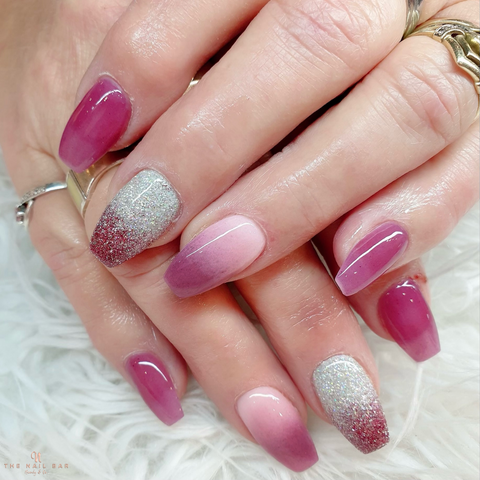 fuchsia pink ombre nails