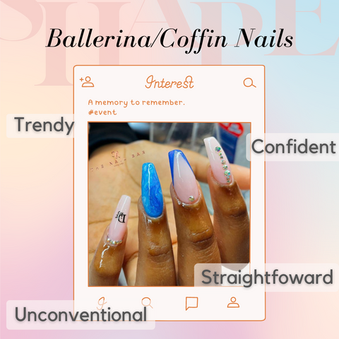 ballerina nail shape, extended tips, extended length with a blue marble design and a base of shellec nude colour
