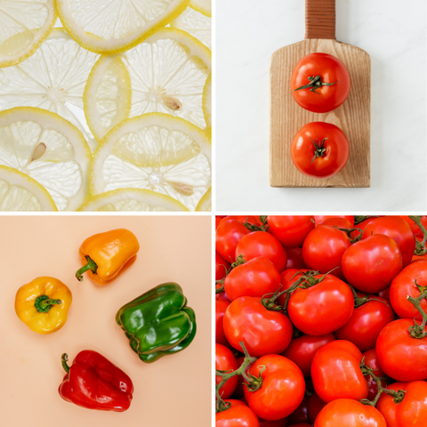 Orange capsicum tomato with natural vitamin c to grow stronger nails
