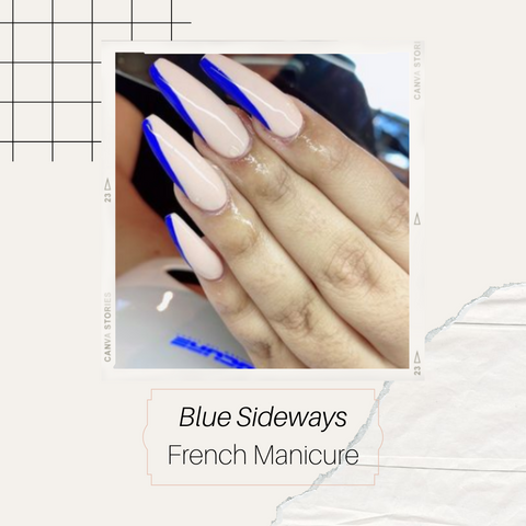 Blue sideway french manicure on coffin shape with a nude base
