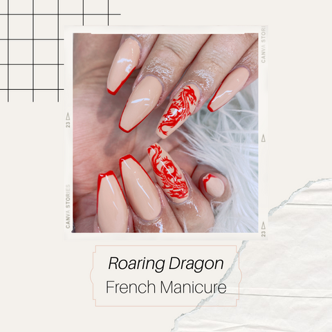 Roaring chinese dragon french manicure with red colour and nude base