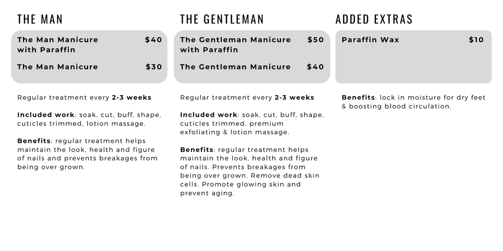 The Nail Bar Beauty & Co. manicure service menu for him