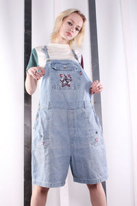 Vintage 90s RARE Mickey Mouse Disney Short Dungarees. MEDIUM.
