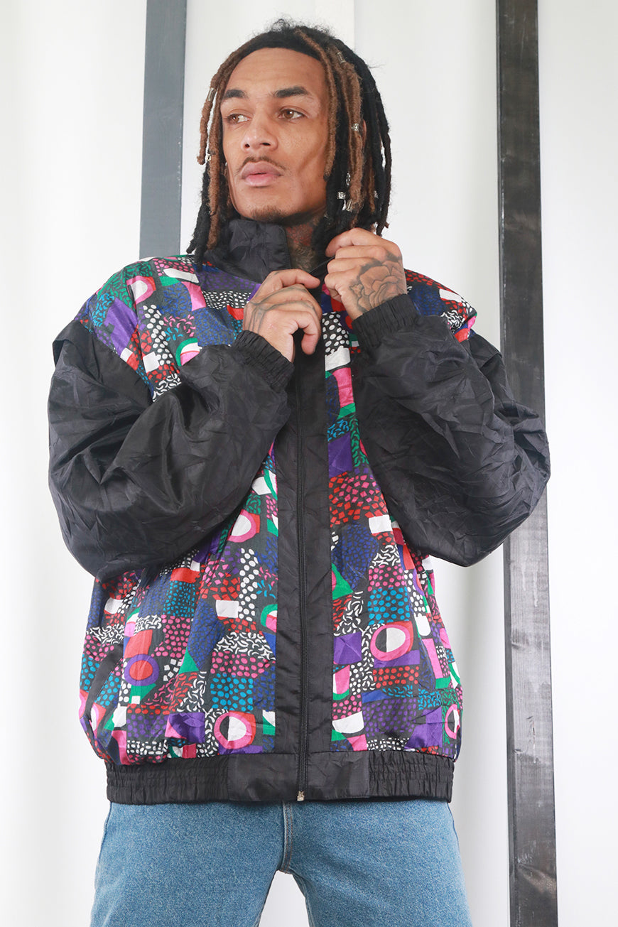 Vintage 80's Printed Windbreaker / Shell Jacket. Festival / Ski. XL