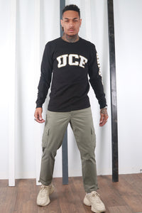 Vintage 90s Black Champion UCF T- Shirt. USA / Varsity. MEDIUM.