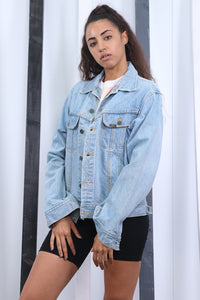 Vintage 90s Lee Light Blue Denim Jacket. Oversized.