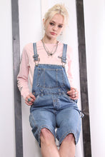 Load image into Gallery viewer, Vintage Light Blue Denim Dungarees 90s Overalls. Workwear. SMALL.