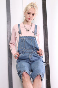 Vintage Light Blue Denim Dungarees 90s Overalls. Workwear. SMALL.