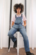 Load image into Gallery viewer, Vintage 90s Disney Eeyore / Winnie the Pooh short dungarees. MEDIUM.