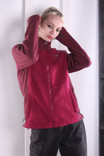 Load image into Gallery viewer, Vintage 90s burgundy Zip up The North Face Fleece. MEDIUM.