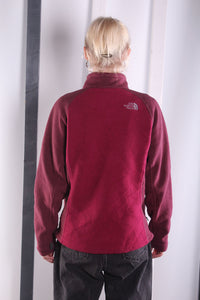 Vintage 90s burgundy Zip up The North Face Fleece. MEDIUM.