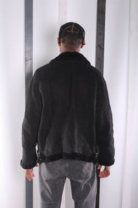 Vintage 90's Black Flying / Pilot Jacket. Shearling Lined. LARGE.