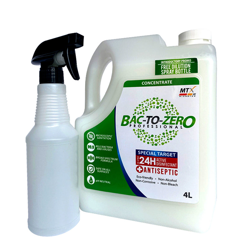 Microtex MTX Bac To Zero Special Target Antiseptic Disinfectant 4L with Free Spray Bottle MA-BZST4000