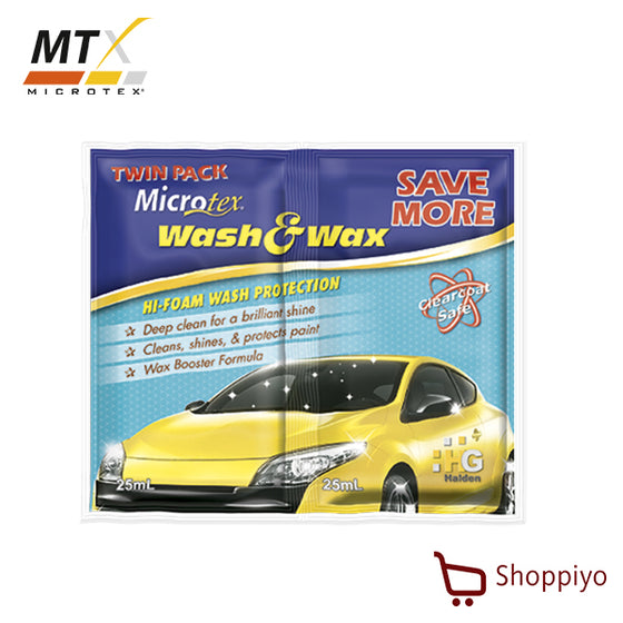 Microtex Car Wash Shampoo Wash & Wax Twin Pack 50ml