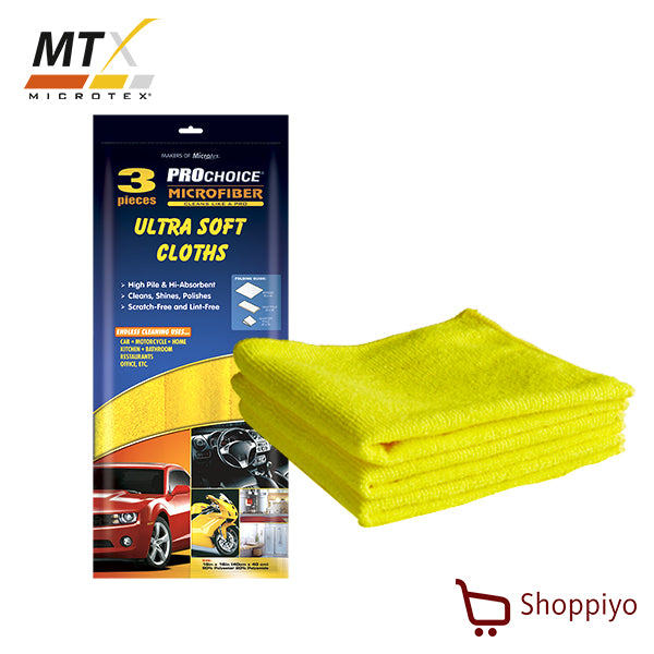 Microtex Prochoice All Purpose Microfiber Ultra Soft Cloth Towel Set of 3 (PC-MF3Y)