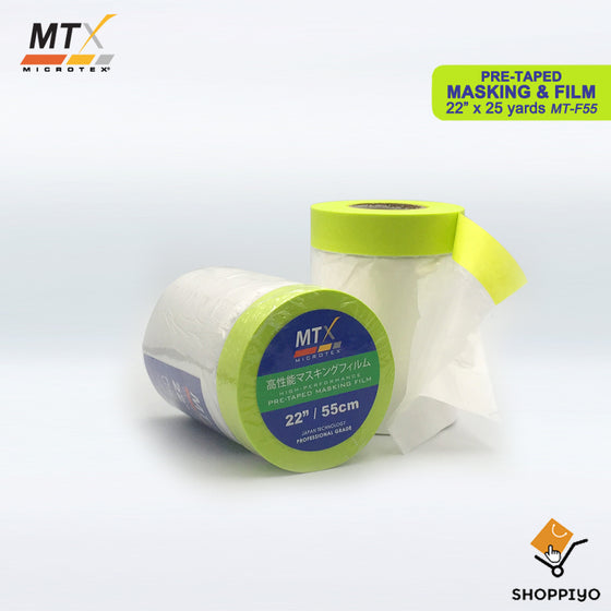 "Microtex High Performance Pre Taped Masking Film 22"" (55cm) x 25 Yards"