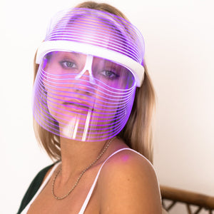 LED Light Facial Mask by Lux Glow Skin Care.  Reduces Fine Lines and Wrinkles, Tightens and Lifts to Reduce Sagging, Eases Epidermal Scar Damage, Accelerates Acne Diminishment, Balance Skin Tone to Improve Dark Spots, Promotes Younger, Smoother, Toned Skin, Heals Wounds and Repairs Tissue, Toxin and Impurity Reduction, and Dead Skin Cell Removal.