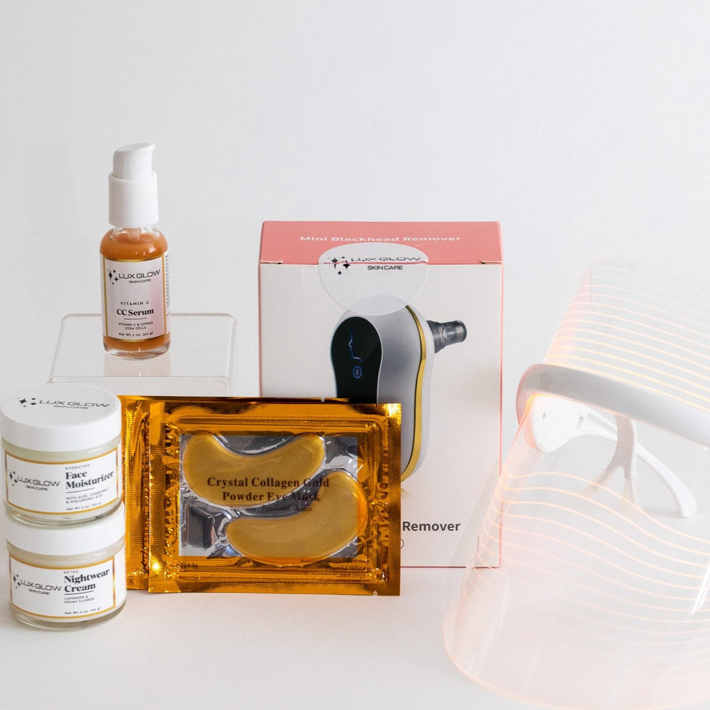 The Ultimate Glow Bundle is the creme-de-la-creme for all your skin care needs. It features the best selling LED Facial Mask, the Simply Glowing Vegan Set, the Mini Blackhead Remover and the hydrating 24k Gold Collagen Eye Masks set of 10. Everything you need to refresh, replenish and revive your skin.
