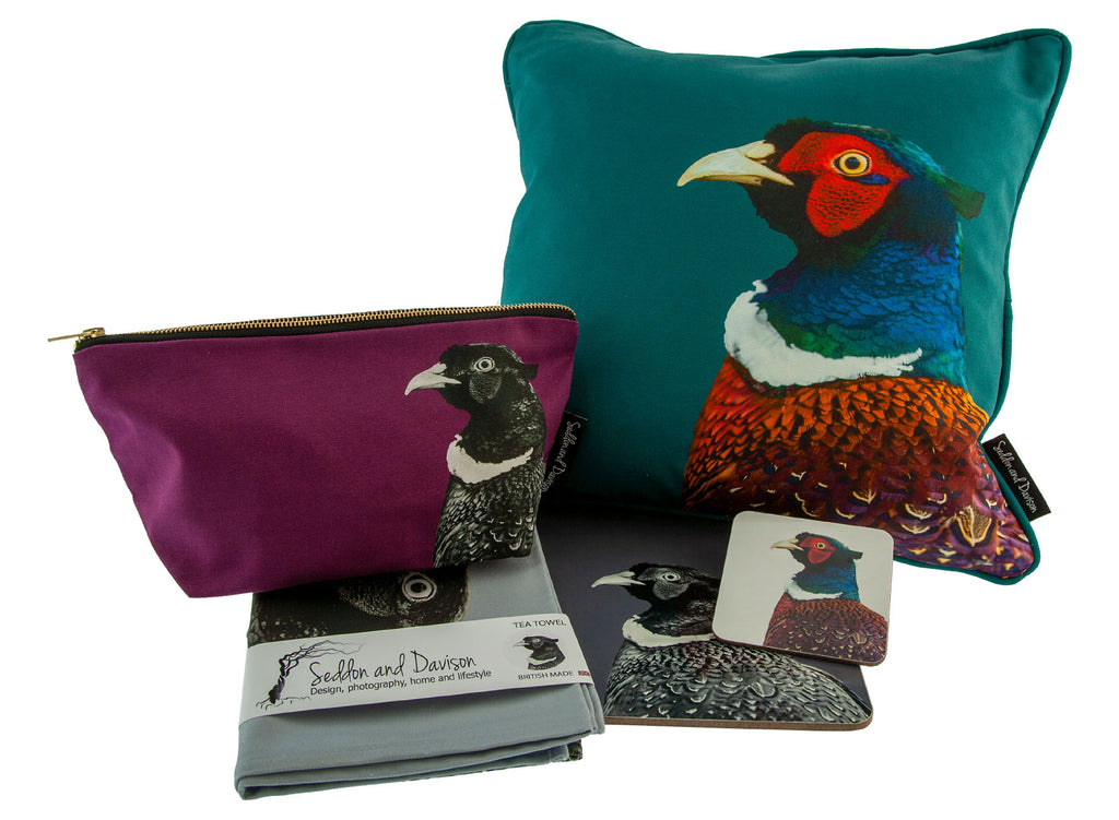 pheasant cushion, pheasant wash bag, pheasant tea towel, pheasant placemat and coaster