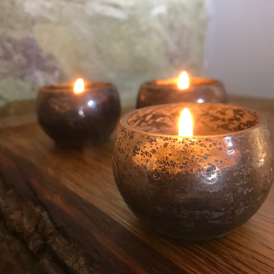 Antique Coal colour tea lights - set of three