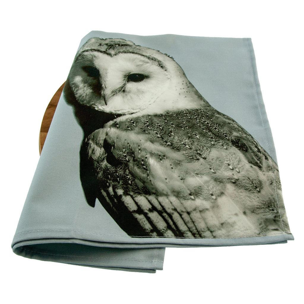 Barn Owl Tea Towel  Pale Grey
