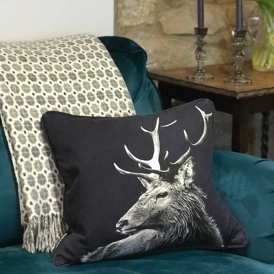 Stag Cushion Blackberry with Grey Milan Lambswool Throw