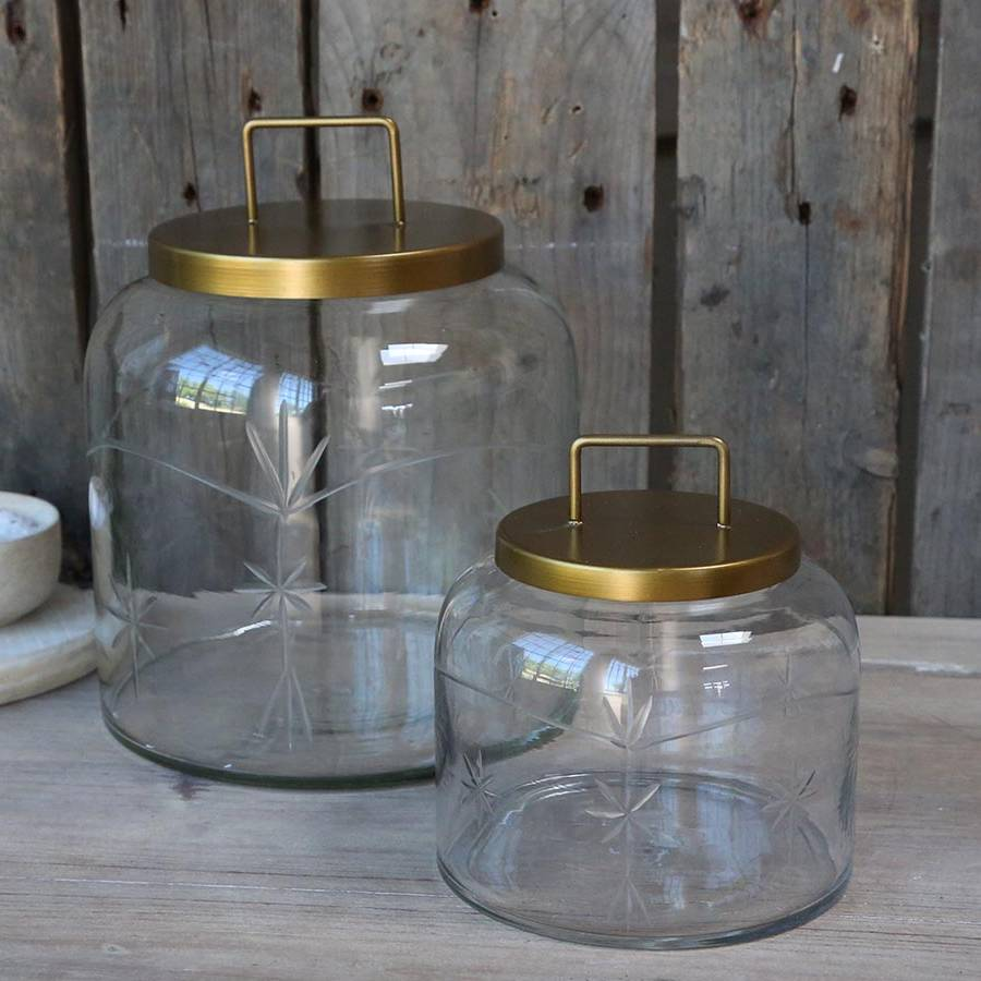 Glass Jar with Brass Lid