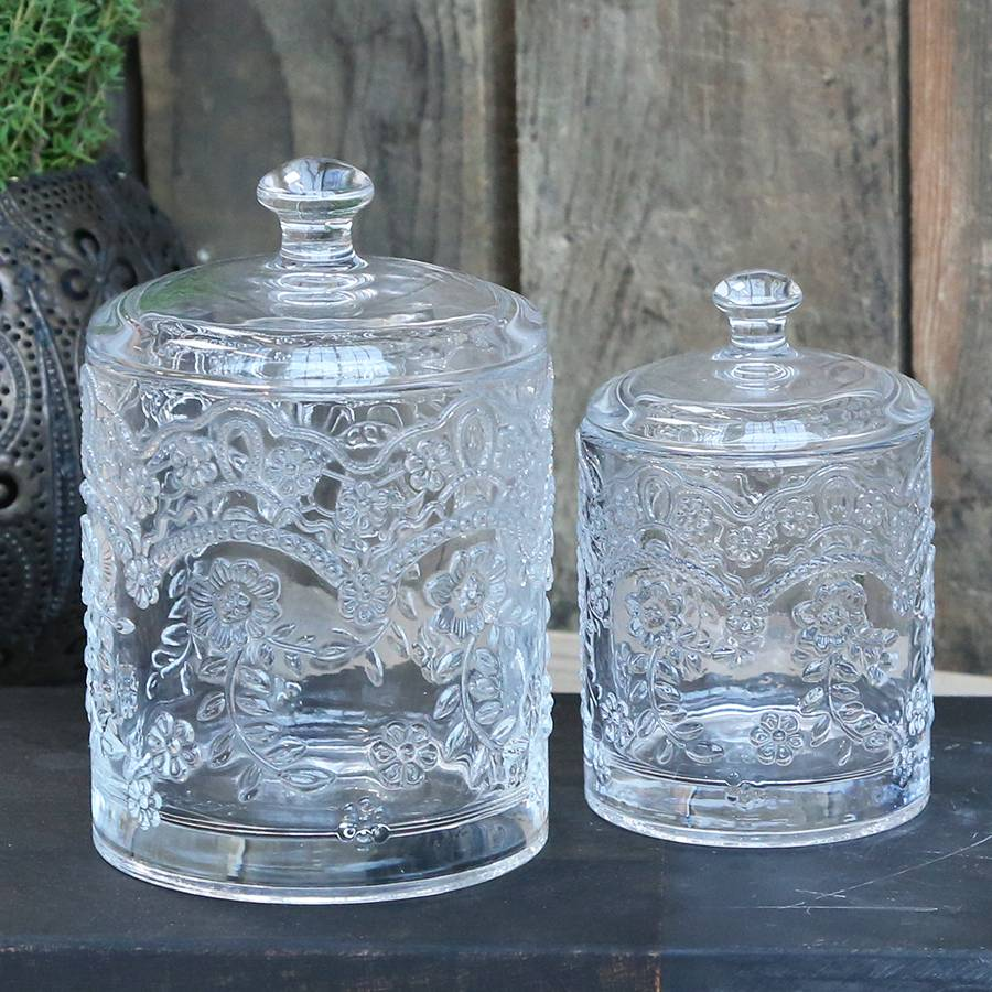 Vintage French Style Glass Jars with Lids