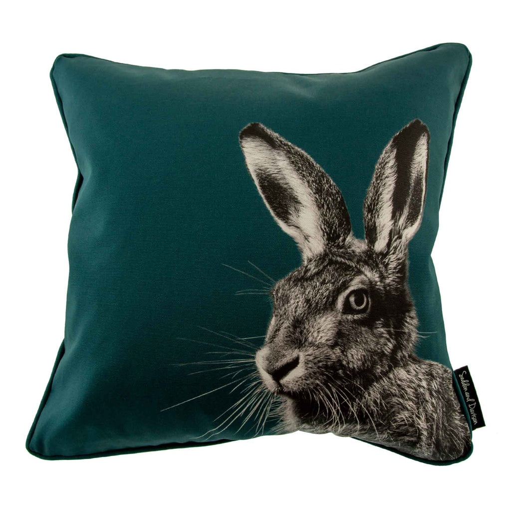 Hare Cushion - Teal Green