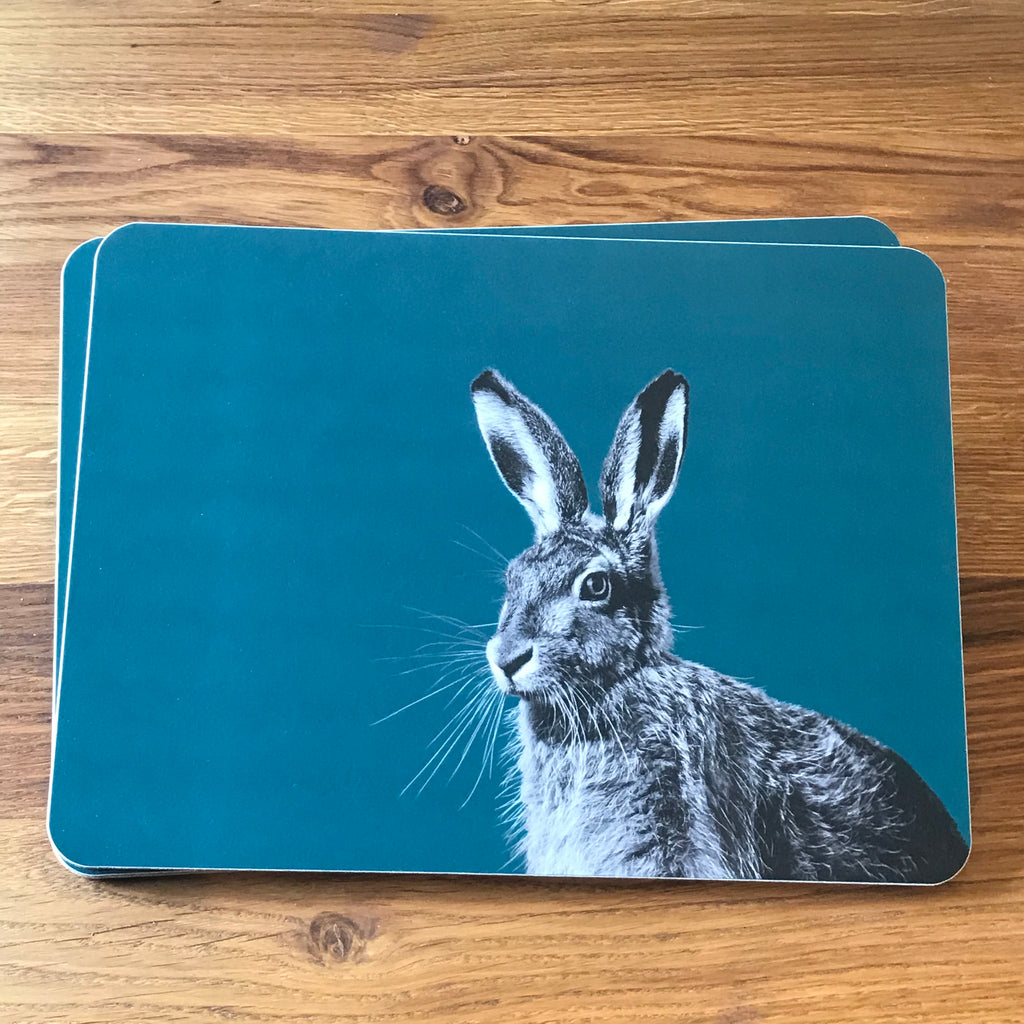 Hare placemat - teal