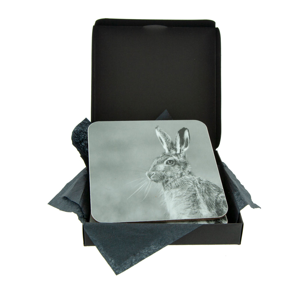 Hare coaster grey with gift box