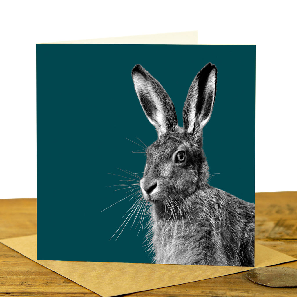 HARE GREETING CARD - Teal