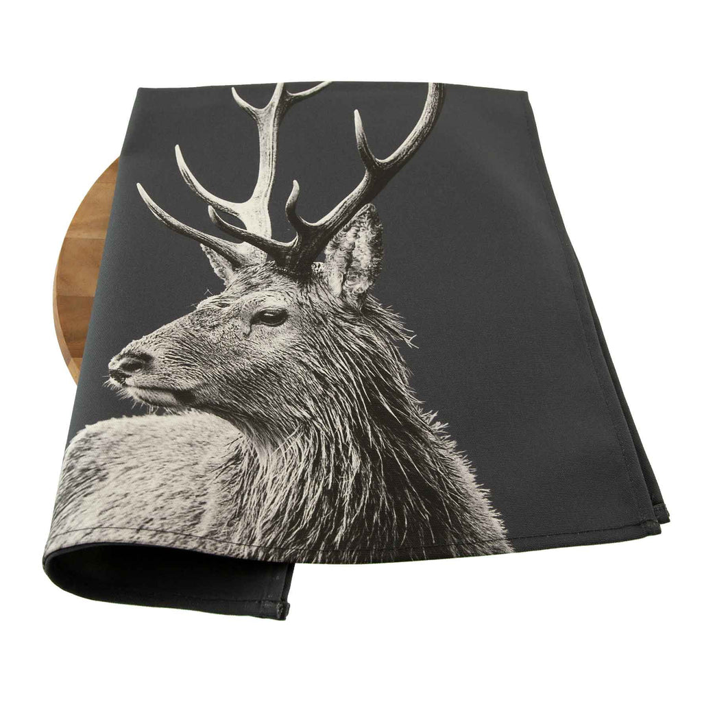 Highland Stag Tea Towel - Charcoal