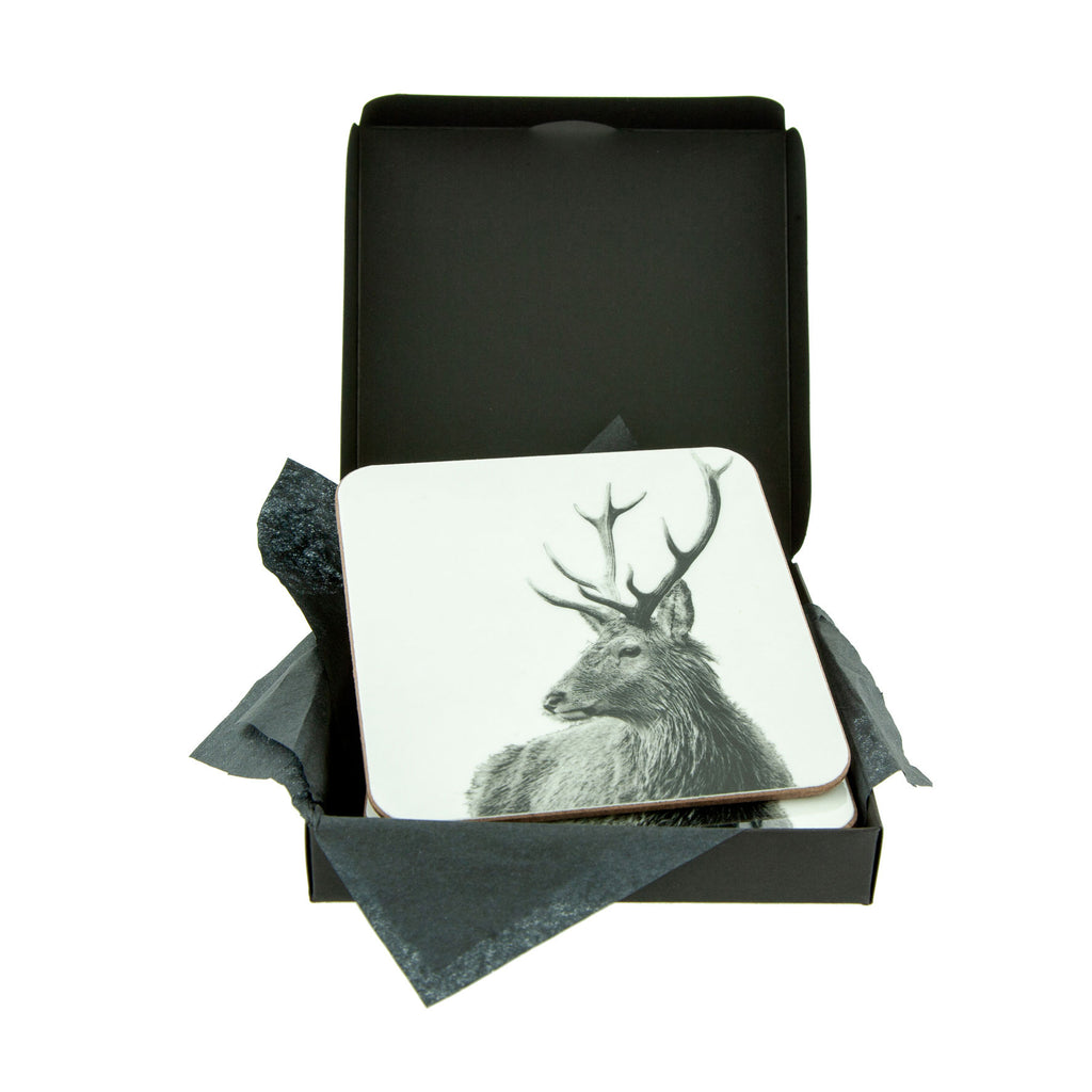 Highland Stag Coaster White - Gift Box