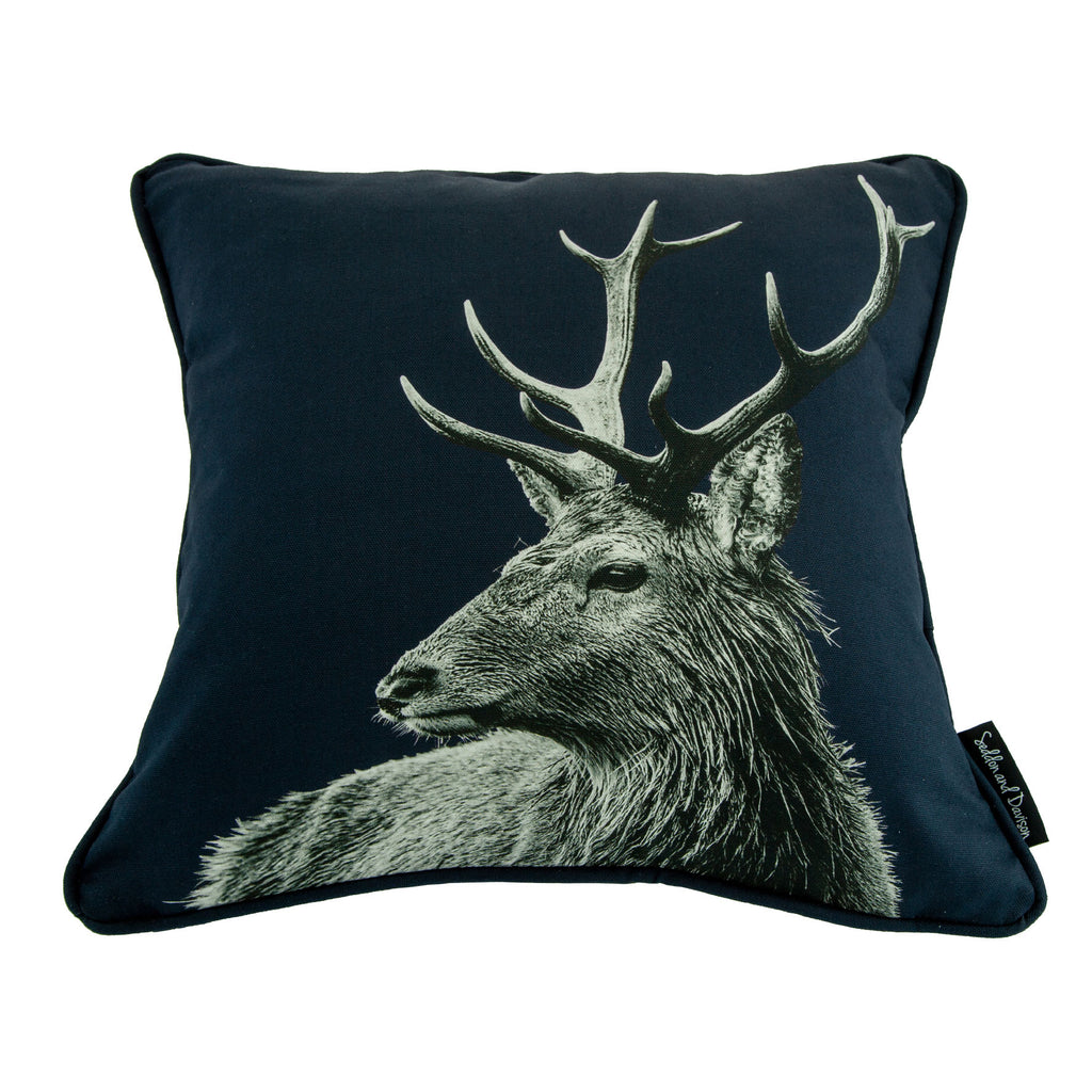 Highland Stag Cushion - Blackberry