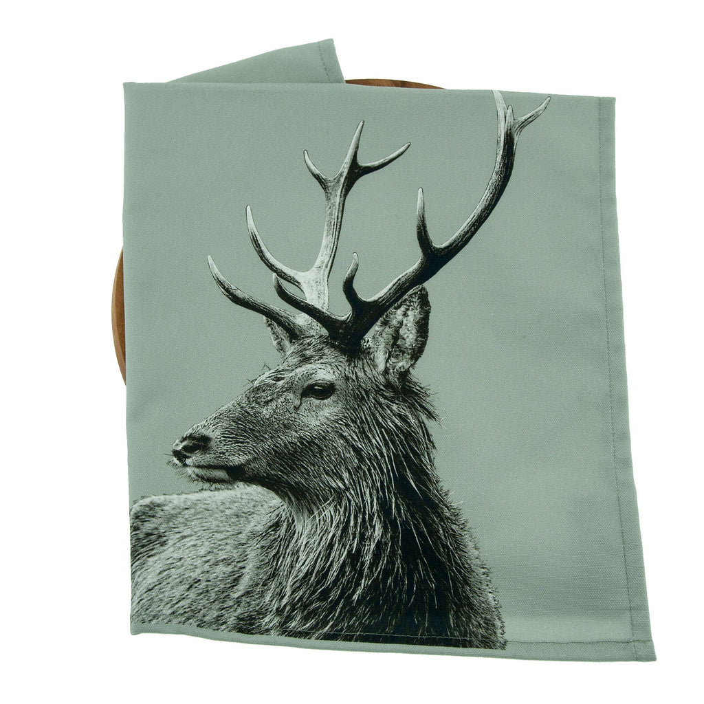 Highland Stag Tea Towel - Sage Grey
