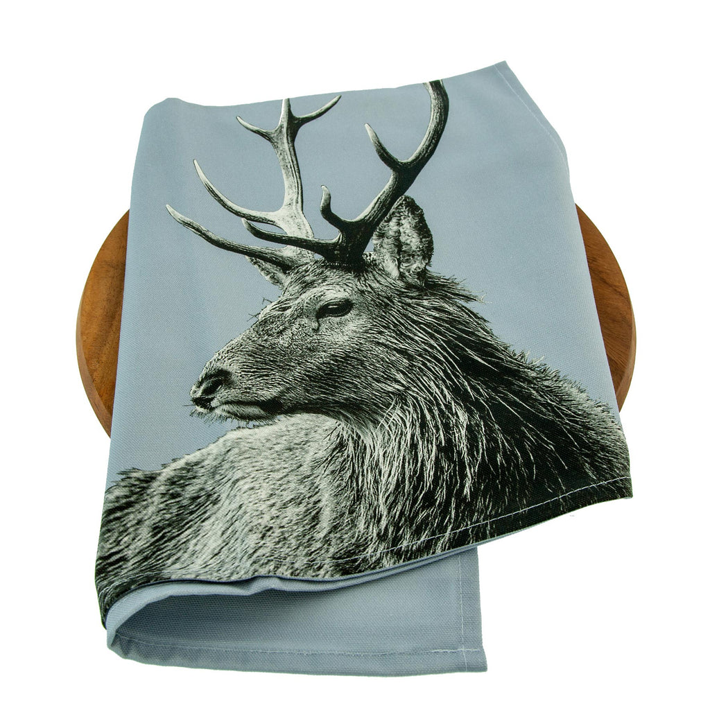 Highland Stag Tea Towel - Pale Grey
