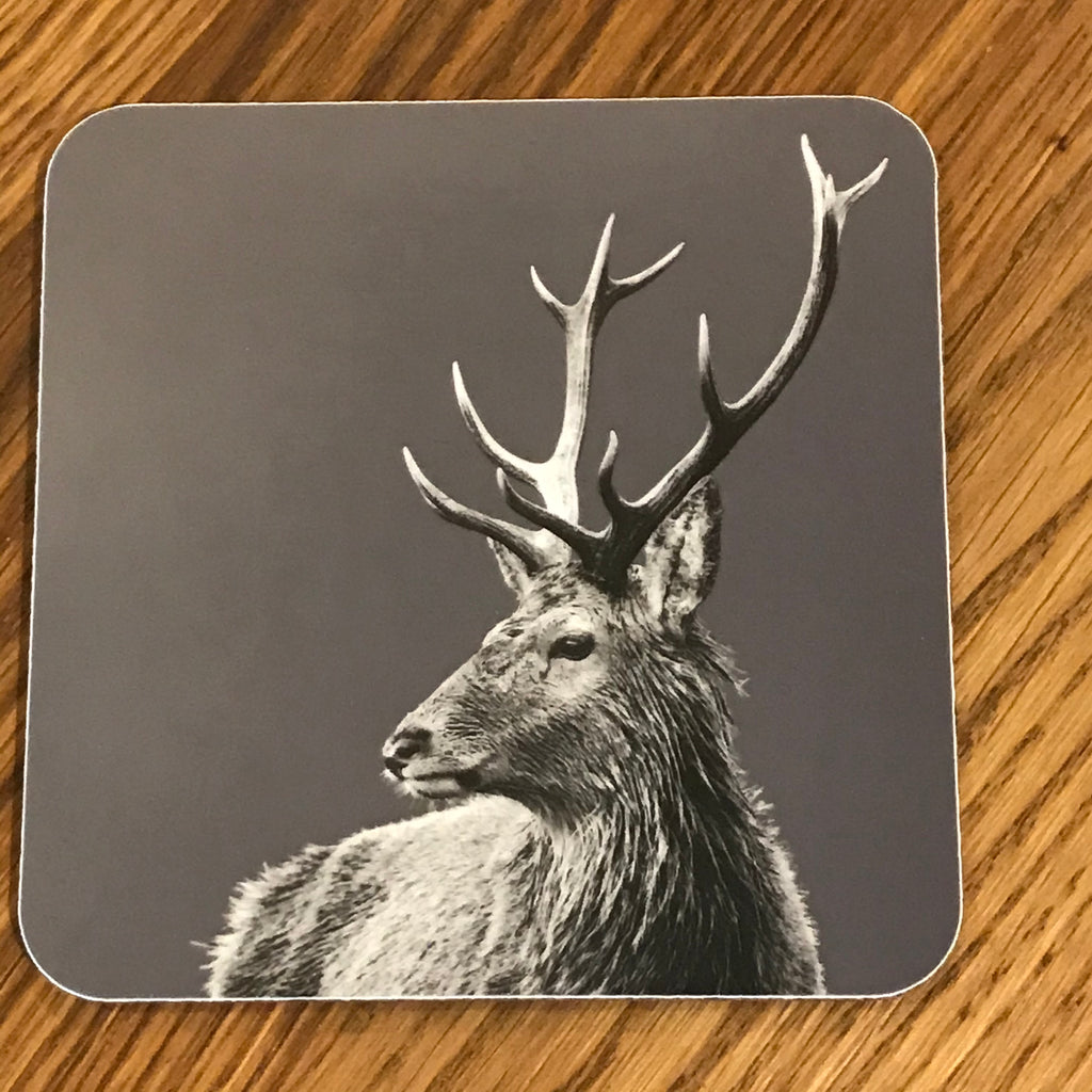 Highland Stag Coaster Charcoal