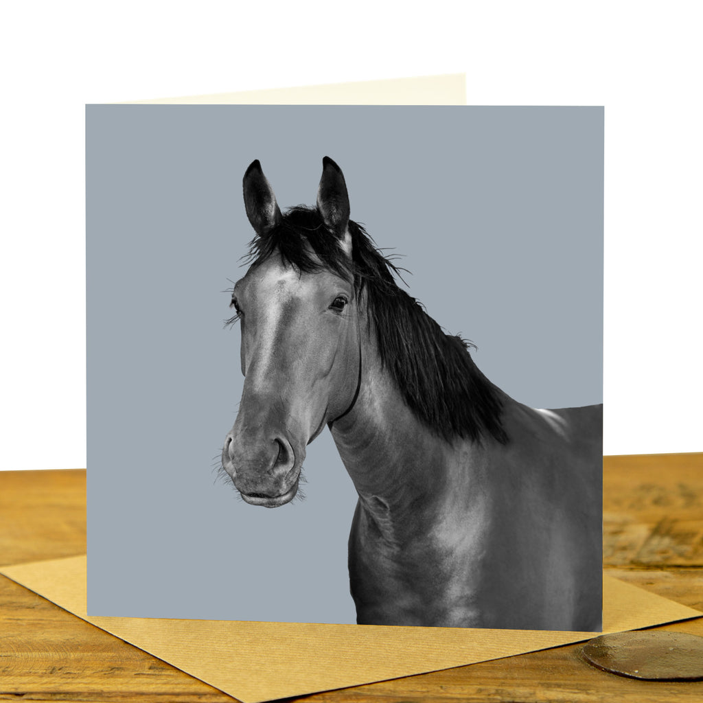 Horse Card - Pale Grey